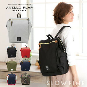 8b9f465827 Image is loading ANELLO-Japan-Flap-Rucksack-Tote-Style-Canvas-Backpack-