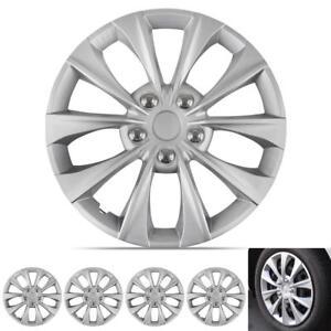16-034-Set-of-4-Silver-Wheel-Covers-Snap-On-Hub-Caps-fit-R16-Tire-amp-Rims