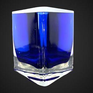 """Vintage GORGEOUS DESIGNS Art Glass Blown Glass Vase Cobalt Blue Triangular 3.25"""""""