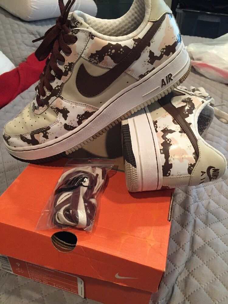 Nike Air Force 1 Premium Brown & Tan Camo  Mens 9