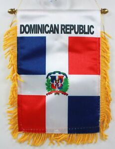 DOMINICAN-REPUBLIC-MINI-BANNER-FLAG-GREAT-FOR-CAR-amp-HOME-WINDOW-MIRROR-HANGING