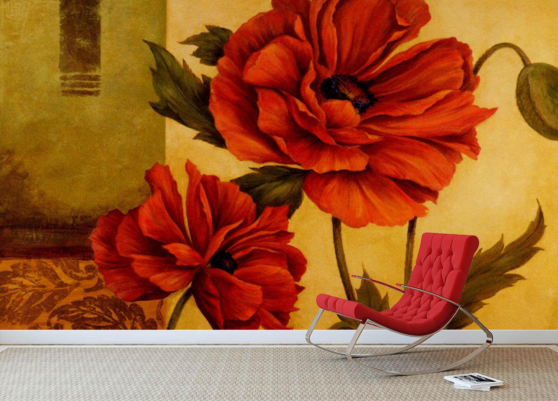 3D Rote Kunst Blaumen7 8 Tapete Wandgemälde Tapete Tapeten Bild Familie DE Summer  | Mittlere Kosten  | New Products  | Schön