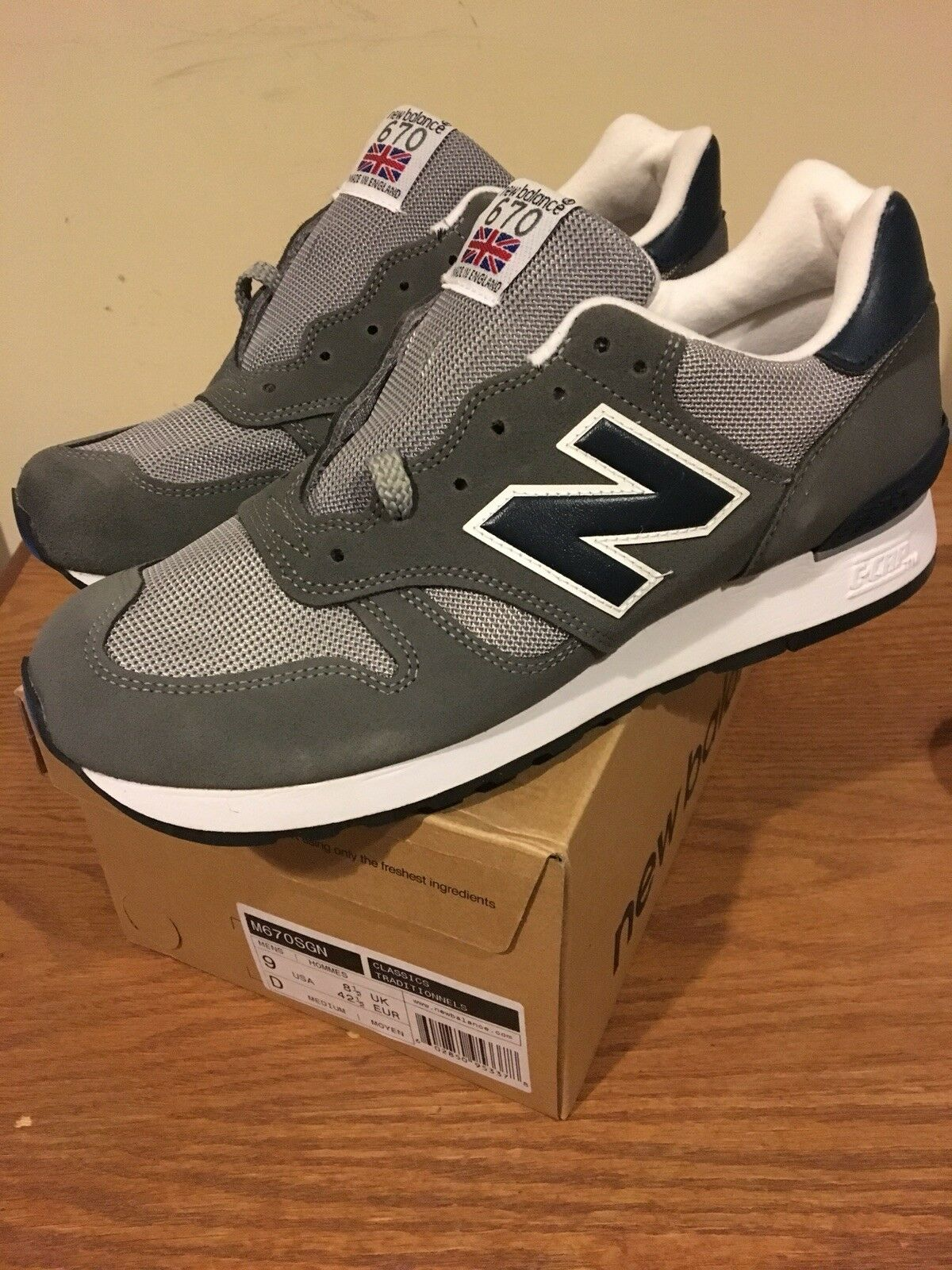 New Balance 670 SGN Grey Size 9 Made In England New