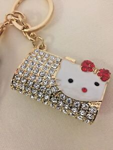 Girls Hello Kitty Charm Keyrings Bag Handbag charm school bag Key ... dc5bb522d1f8
