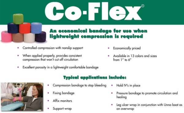 CO-FLEX 1.5'x5Yd Tan Flesh Cohesive Bandage Self Adherent Elastic Wrap Latex USA