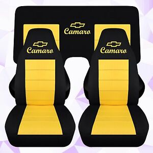 Front And Rear Chevy Camaro Coupe Black And Yellow Seat