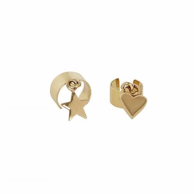 Brand New SASS & BIDE  Cascades Power   Heart & Star Charm Ear Cuff Set - gold -