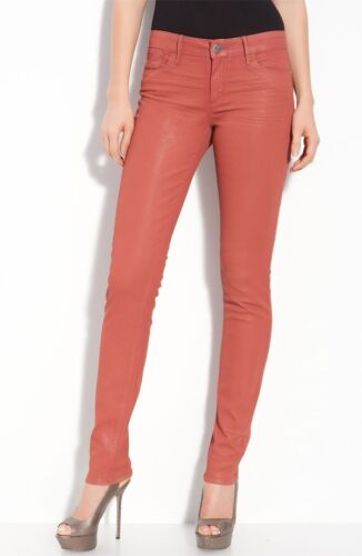 NWT HABITUAL ALICE COATED DENIM TAJ CORAL COLOR SKINNY FAUX LEATHER PANTS JEANS