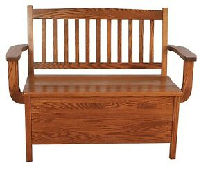 Image Is Loading Mission Oak Benches Indoor Furniture Wooden Storage New