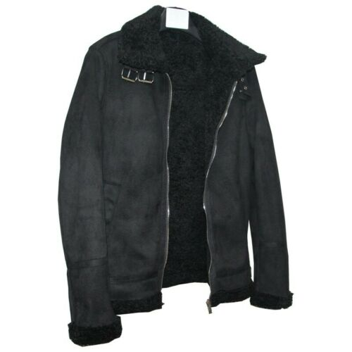 Men/'s WInter Warm Zipper Faux Fur Lined Jacket Lamb Lapel Motorcycle Outwear New