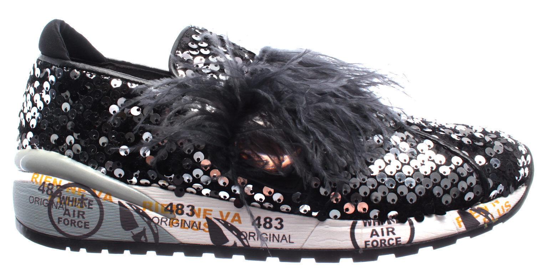Scarpe 1802 Donna Sneakers PREMIATA Giusy 1802 Scarpe Paillettes Piume Nuove 005b15