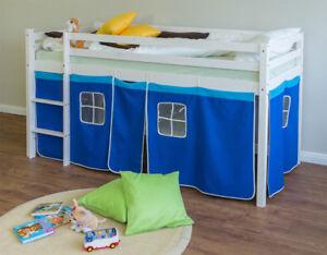 Details Sur Lit Enfant Superpose En Pin Massif Avec Echelle Et Rideaux Bleu