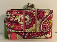 Vera Bradley Small Kisslock Wallet With Coin Purse In Paisley Meets Plaid