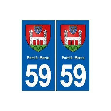 59 Pont-à-Marcq blason autocollant plaque stickers ville droits