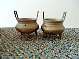Vintage-Set-Of-2-3-Legged-Brass-Incense-Pots-034-GREAT-COLLECTIBLE-SET-034