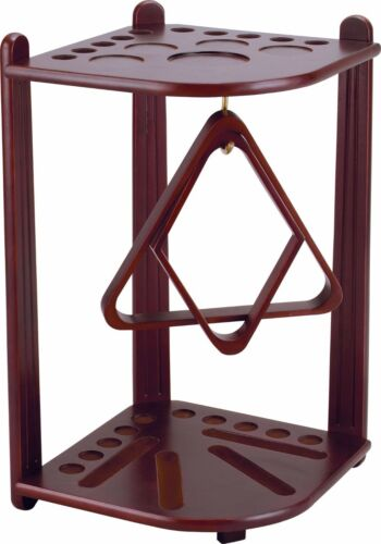 Corner 10 Pool Cue Floor Rack with Cherry Finish & FREE Shipping