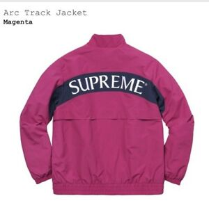 744cdb15fdc3 Image is loading Supreme-Arc-Logo-Track-Jacket-Medium-Magenta-FW17-