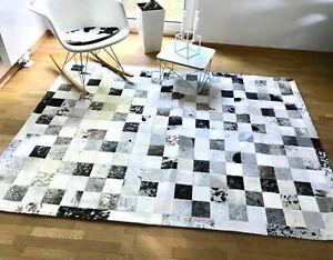 Patchwork-Teppich-aus-Grau-schwarz-weissem-Kuhfell-200cm-x-150cm-NEU-RUG
