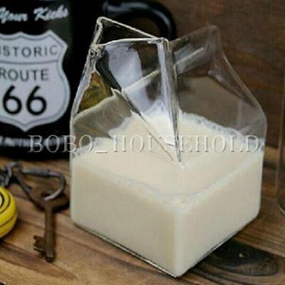 10X7cm Novelty Half Pint Creamer Glass Milk Coffee Carton-Half Glassware Cup Mug