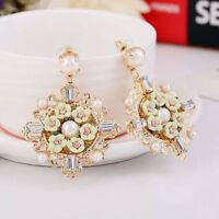 Gold Plated Baroque Flower Runway Rose Drop Earrings Ear Stud Celebrity Dangle