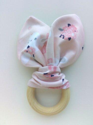 Wooden Teether Baby Teething ring.Bunny