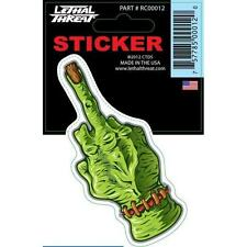 LETHAL THREAT STICKER MOTORCYCLE, SCOOTER, BOARDS HELMETS RC00012 ZOMBIE FINGER