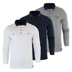 Brave-Soul-Gospel-Homme-Polo-T-Shirt-Denim-a-col-a-manches-longues-Top-Casual