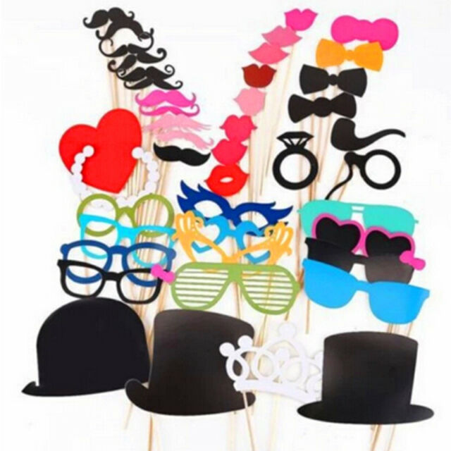 Photo Booth Props For Wedding Party Moustache Lips On A Stick Photobooth 44pcs