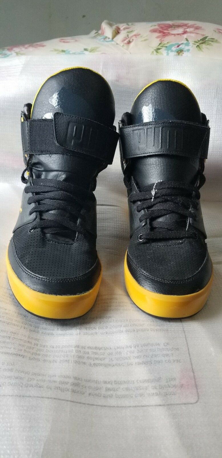 Puma shoes men half boots black and yellow size 9 us.