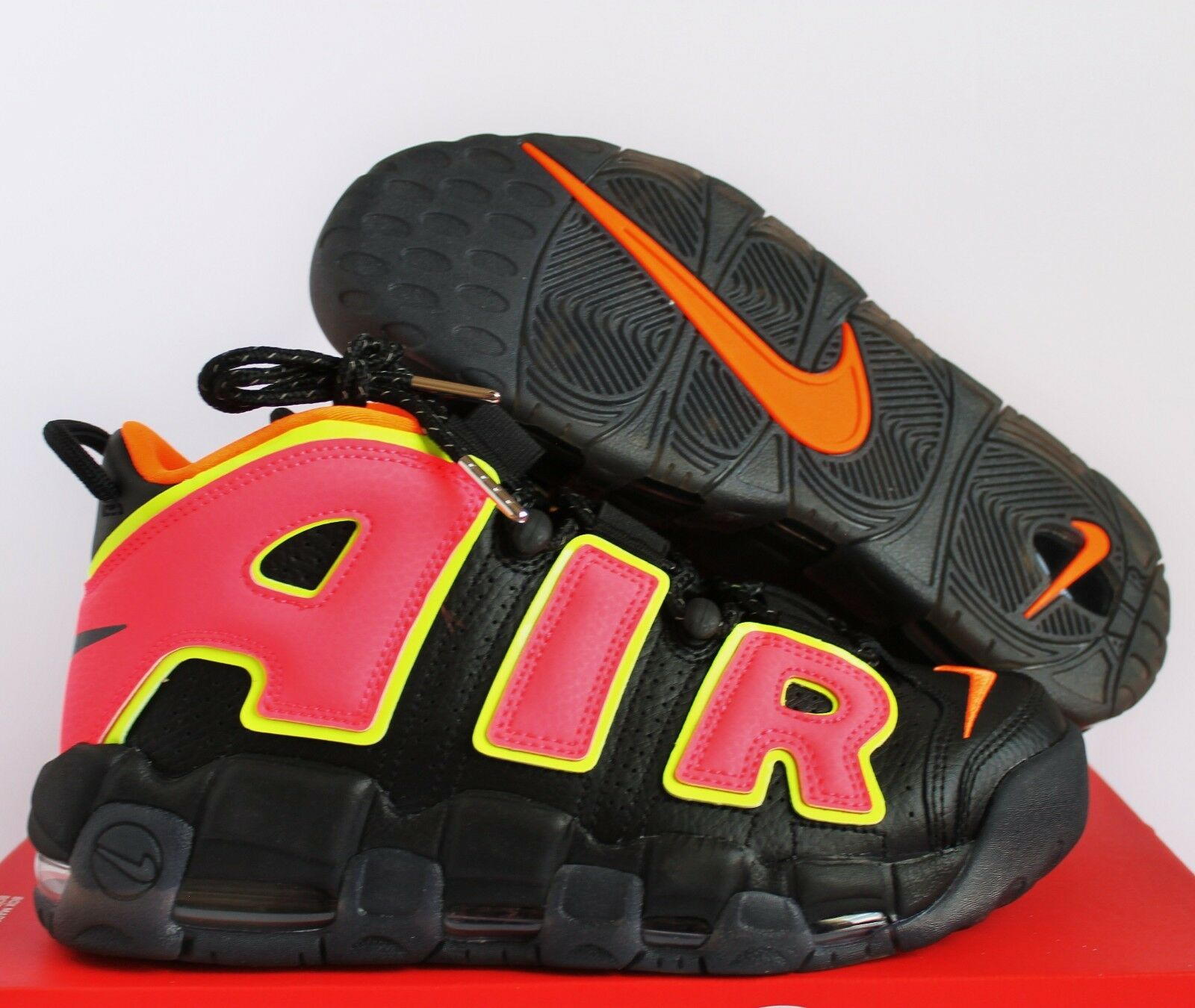NIKE WOMEN AIR MORE UPTEMPO BLACK-HOT PUNCH-VOLT Price reduction Comfortable and good-looking