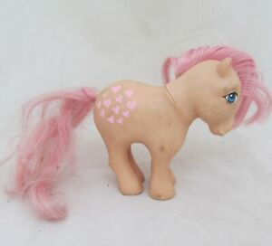 VTG My Little Pony Horse Figure G1 Peachy Pretty Parlor Peach Pink Hearts 1982