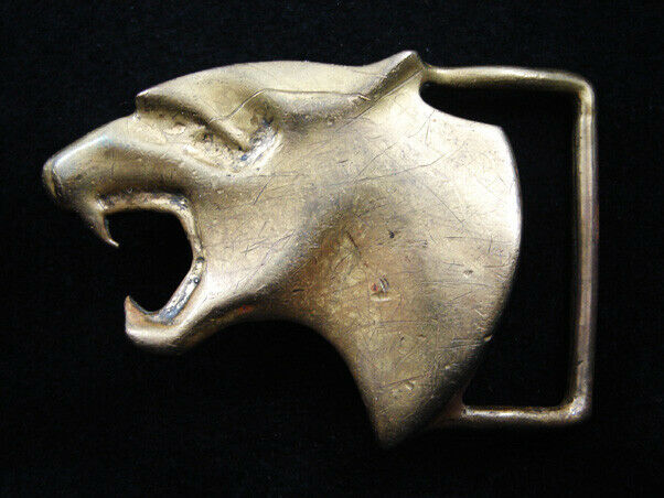 RG13159 VERY COOL VINTAGE 1970s CUT-OUT **WILDCAT** SOLID BRASS BELT BUCKLE