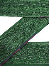 Jahrgang-Sari-Grenze-Antike Gestickte Nähen Indisch-Grün Band-1Yd Spitze