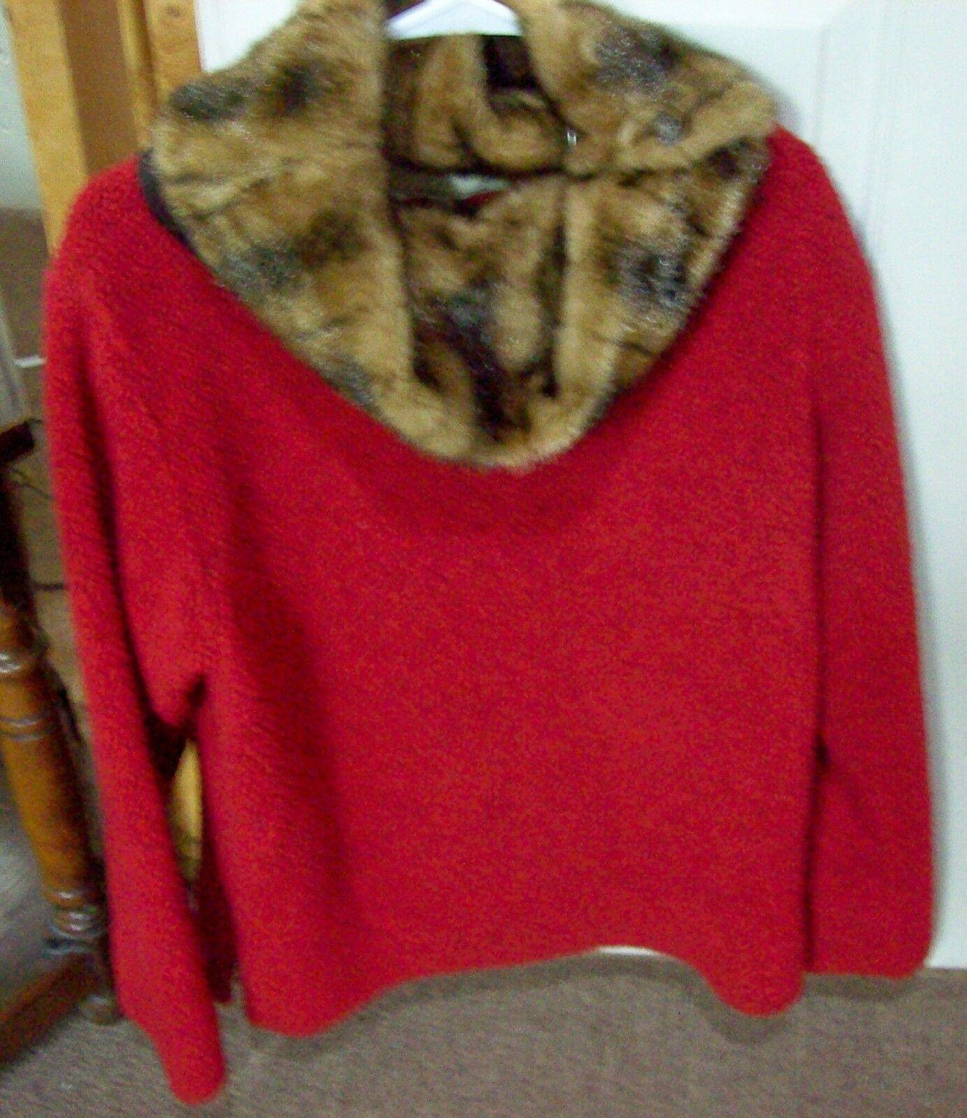 Ladies TASHA POLIZZI for SADDLEBLANKET  Red Sweater w  MINK Collar  Size S