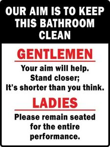 Details About Aim To Keep Bathroom Clean Sticker Decal Sign Man Cave Garage Shop Bar Funny