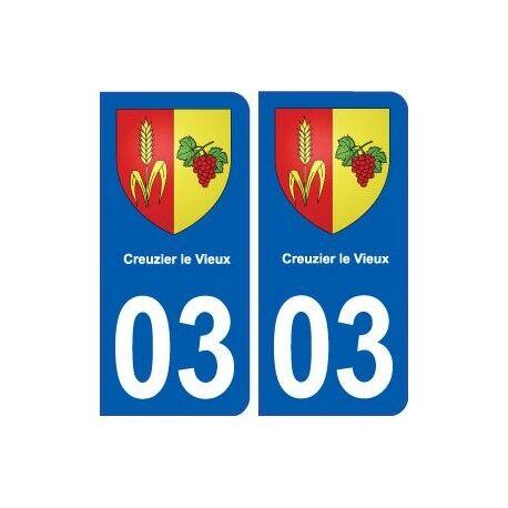 03 Creuzier-le-Vieux blason ville autocollant plaque stickers droits