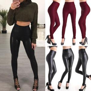 cbc1b9c987667d Women Sexy Hip Push Up Faux Leather Legging Slim Pants Butt Lift ...