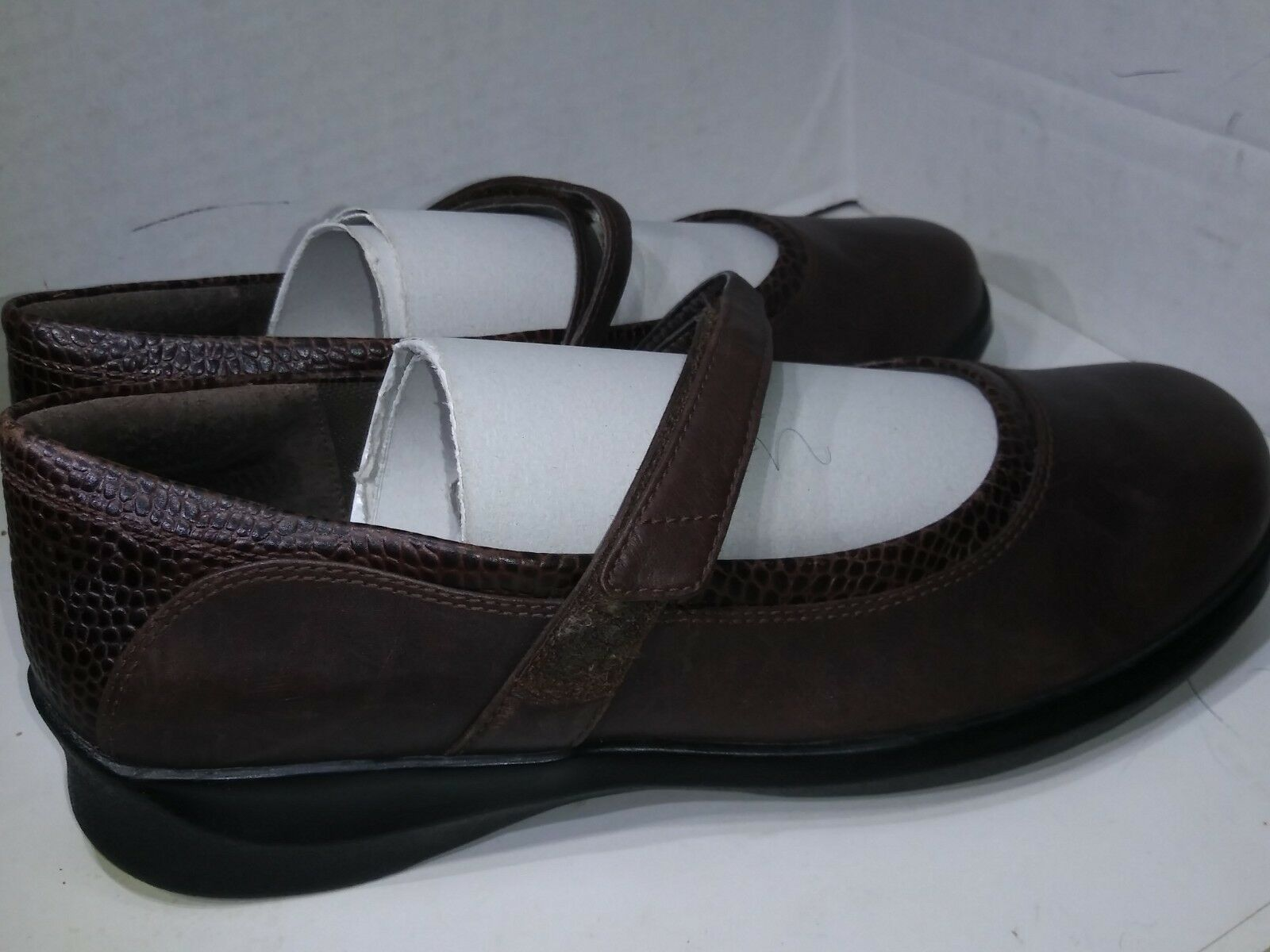 Aetrex Julia Mary Jane Flats Brown Leather Hook Loop Extrawide Womens Size 10 XW Extrawide Loop 30725d