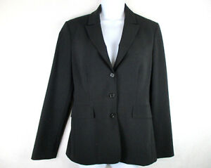 Elie-Tahari-Women-039-s-Black-Wool-Stretch-3-Button-Career-Blazer-Jacket-Sz-8-Note