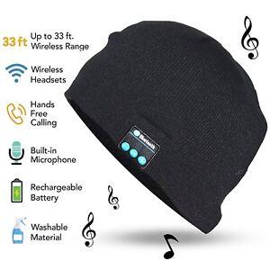0073ba5413c Bluetooth Hat Wireless Headset Built-in Mic Speaker Beanie Winter ...