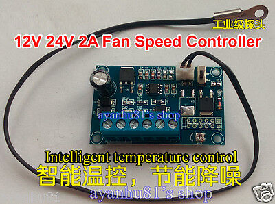 DC 12V 24V 2A PWM PC CPU Fan Temperature Control Thermostat Speed Controller