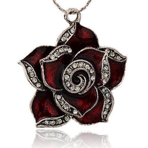 2pcs Vintage Alloy Enamel Flower Pendants Rhinestone Rose DarkRed ENAM-J042-02AS