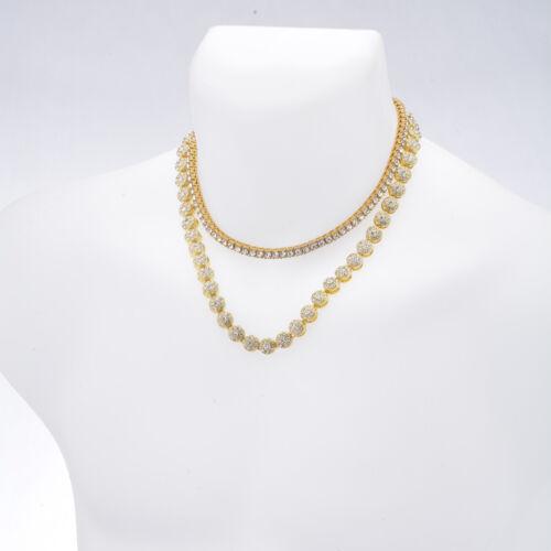 "Men/'s Women/'s CZ Iced 20/"" Flower Chain /& 16/"" Choker Tennis Chain Necklace Set"