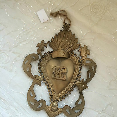 BRASS TONED TIN FLAMING HEART MILAGRO ANGELS and CHERUBS EX-VOTO VINTAGE REPRO
