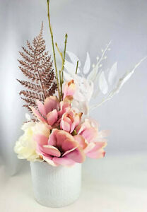 Artificial-Pink-amp-Ivory-Flower-Arrangement-with-Rose-Gold-Fern-in-White-Vase