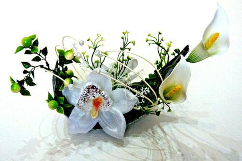 Cocosblatt Schale Kunstblume Tischdeko künstliche Orchidee Topf Dekoration K03