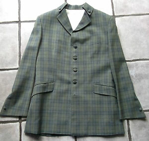 MOD-PSYCHEDELIC-LONDON-TAILORED-SUIT-GREEN-TWEED-CHECKED-1966-1968-STYLE-LARGE