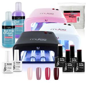 Mylee Mygel Kit Uv Lamp 4 Colours Gel Nail Polish Top Base Prep Wipe Remover Ebay