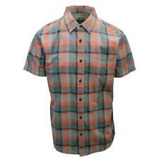 prAna Men's Bright Coral Orange Grey Black Box Plaid Benton S/S Woven Shirt S08