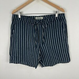 The-Academy-Brand-Mens-Shorts-Size-36-Blue-Striped-Linen-Blend-Elastic-Waist